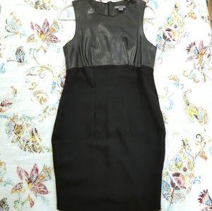 Vince black leather top sheath dress